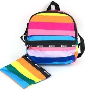 LeSportsac Janis Rainbow Stripe Backpack & Pouch